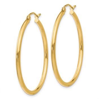 14K Polished 2mm Tube Hoop Earrings