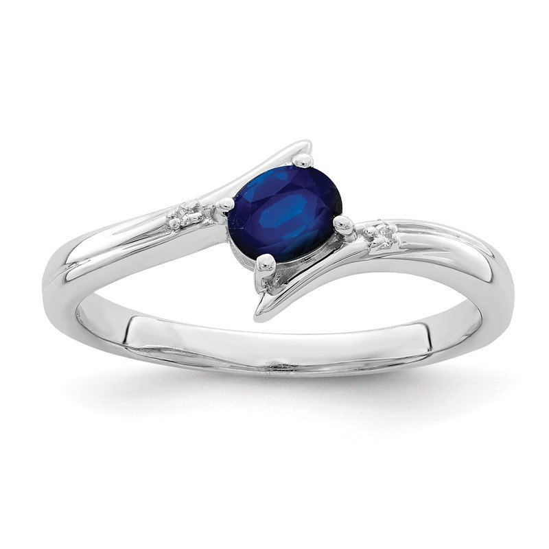 Quality Gold Sterling Silver Rhodium-plated Sapphire and Diamond Ring
