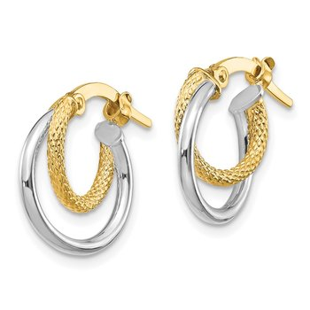 14K Two-Tone Polished Diamond-cut Hinged Hoop Earrings
