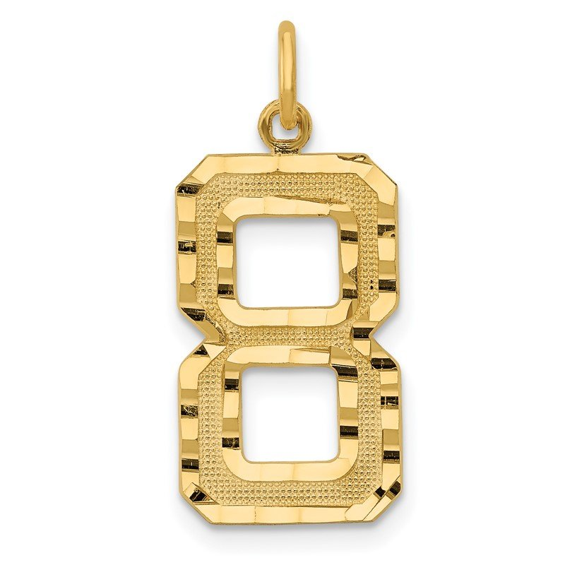 Quality Gold 14ky Casted Large Diamond Cut Number 8 Charm
