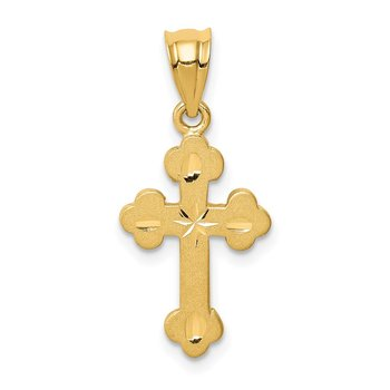 14K Brushed & Diamond-cut Cross Pendant