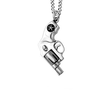 Small Revolver Pendant On 24' Curb Link Chain