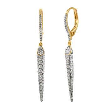 14k fancy drop earrings featuring 104 diamonds 1.10ct