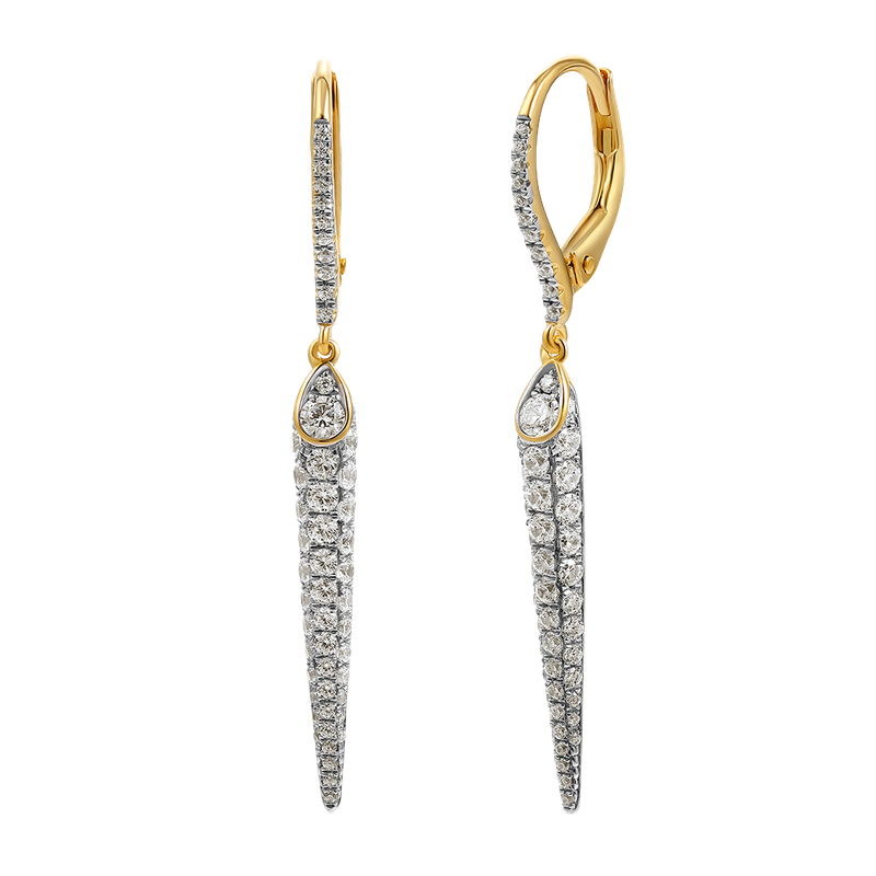 Shula NY 14k fancy drop earrings featuring 104 diamonds 1.10ct