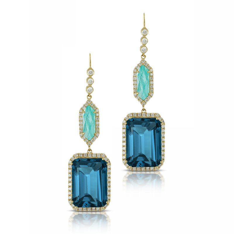 Doves Amazon Breeze & London Blue Topaz Dangles 18KY