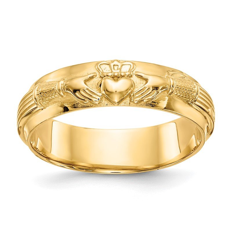 Quality Gold 14k Mens Claddagh Band