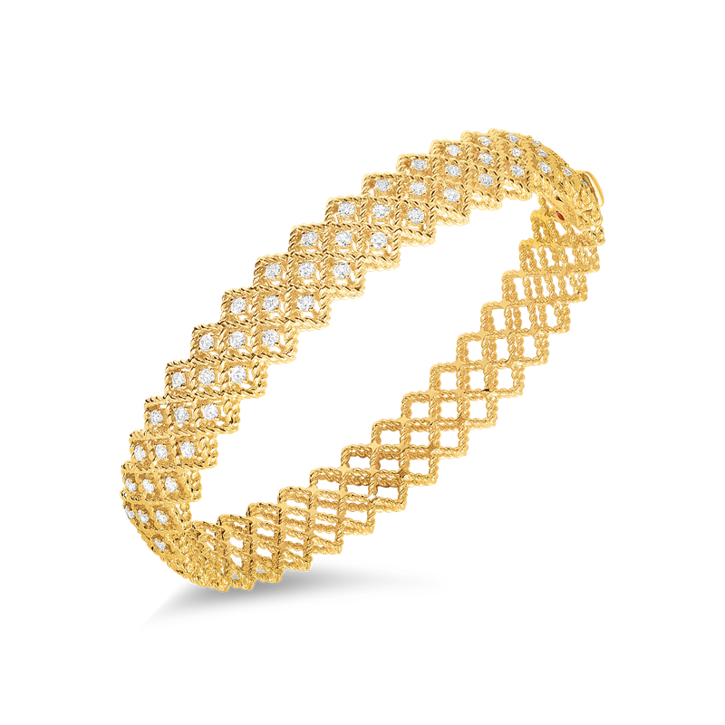 Roberto Coin 18Kt Gold 2 Row Diamond Bangle