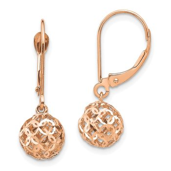 14K Rose Gold Bead Dangle Leverback Earrings