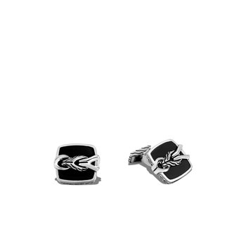 Asli Classic Chain Link Cufflinks in Silver with Gemstone