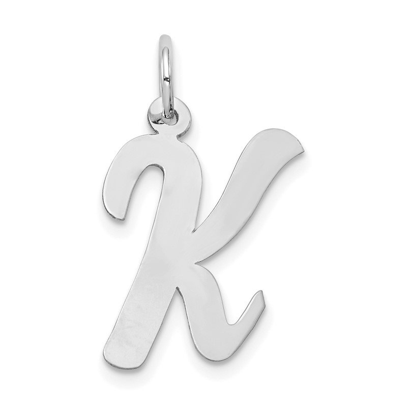 Quality Gold 14k White Gold Large Script Letter K Initial Charm