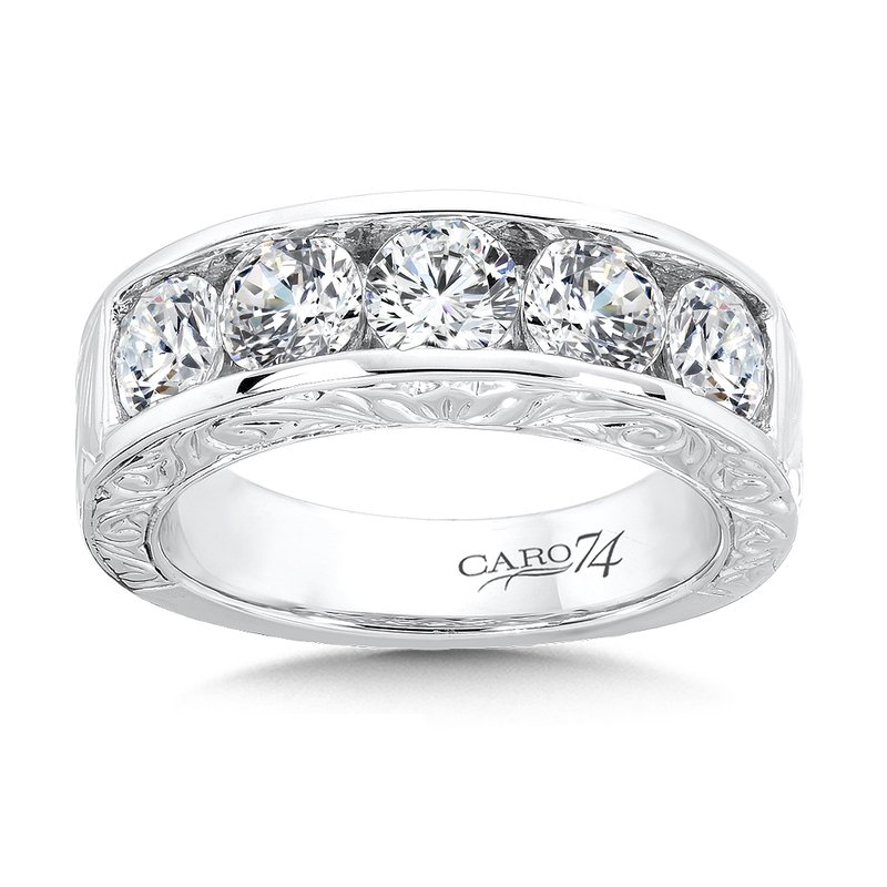 CARO 74 Channel-set Diamond Anniversary Band with Hand Engraving in 14K White Gold