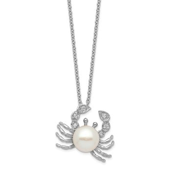 Cheryl M Sterling Silver Rhod Plated CZ & FWC Crab Pearl 18in Necklace