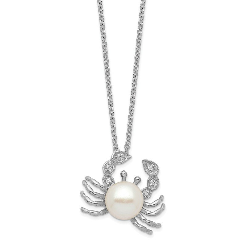 Cheryl M Cheryl M Sterling Silver Rhod Plated CZ & FWC Crab Pearl 18in Necklace