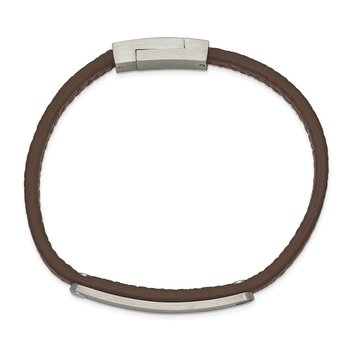 Stainless Steel Brushed Brown Leather 8.25in ID Bracelet