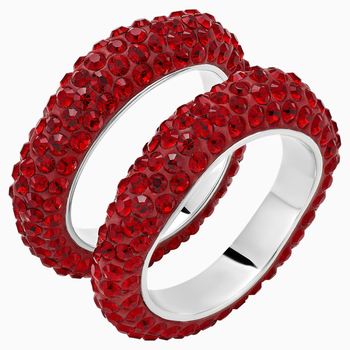 Tigris Stacking Ring, Red, Palladium plated