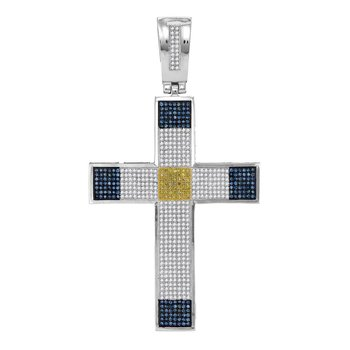10kt White Gold Mens Round Blue & Yellow Color Enhanced Diamond Roman Cross Religious Charm Pendant 1-3/4 Cttw