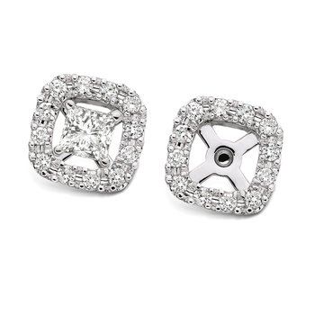 Pave set Cushion Shape Diamond Earring Jackets in 14k White Gold (1/3ct. tw.)