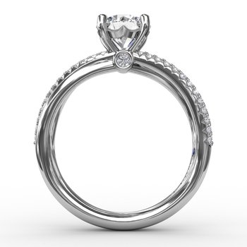 Contemporary Solitaire Diamond Engagement Ring With Multi-Row Split Shank