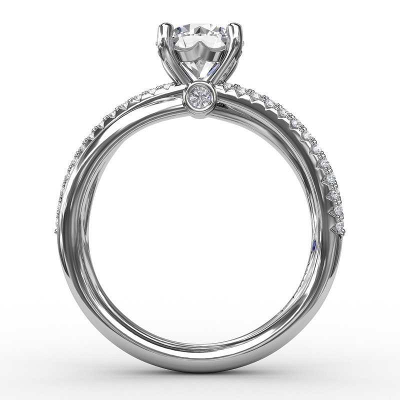 Fana Contemporary Solitaire Diamond Engagement Ring With Multi-Row Split Shank