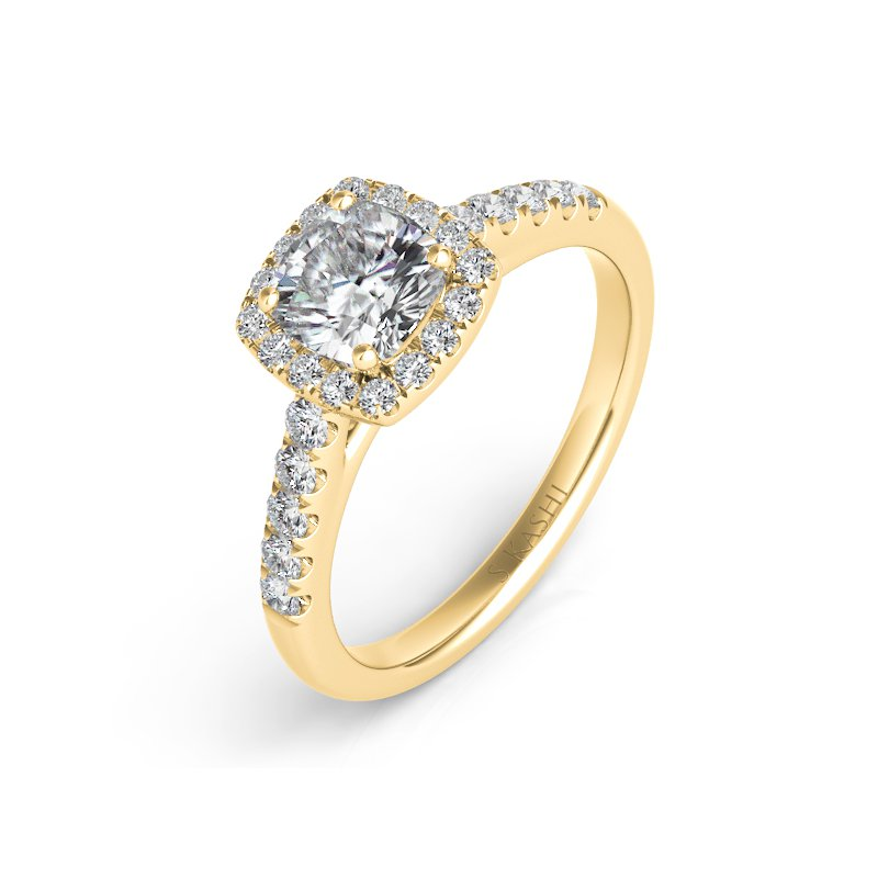 S. Kashi & Sons Bridal Yellow Gold Halo Ring