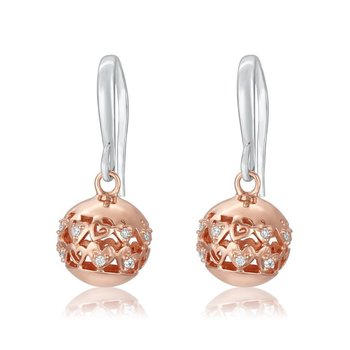 ROSE GOLD PLATED, CUBIC ZIRCONIA, EARRINGS