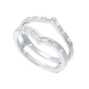 Diamond V-Shaped Bridal Guard Ring in 14k White Gold