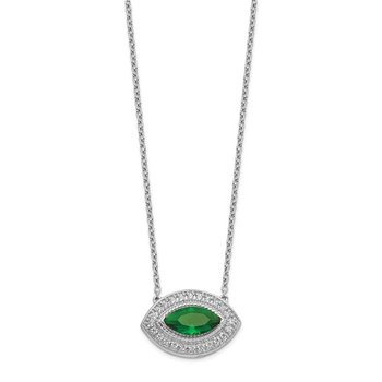 14k White Gold Diamond & Emerald Necklace