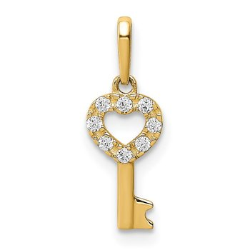 14K CZ Key Dangle Pendant