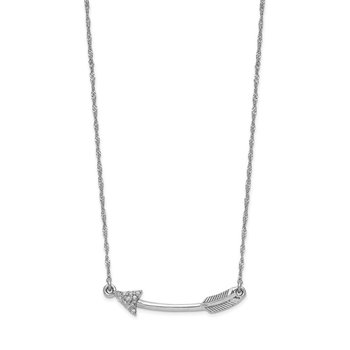 14k White Gold Polished Diamond Arrow Necklace