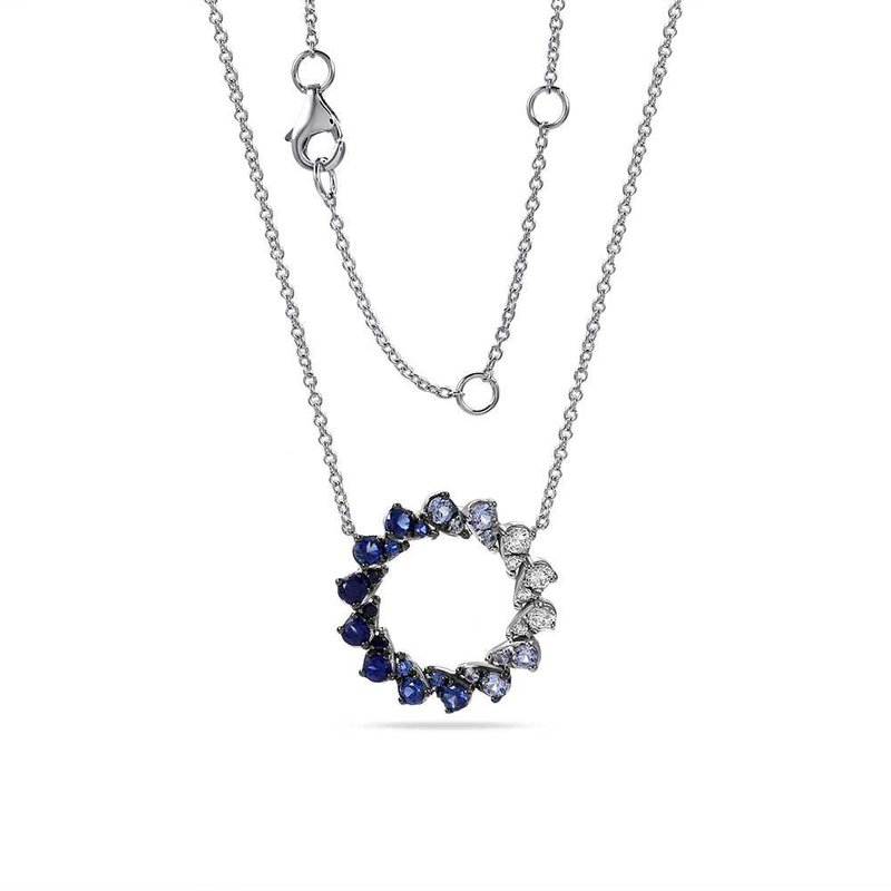 Shula NY 14K round shape necklace with 6 Diamonds 0.24C TW & 22 Sapphires 1.07C TW