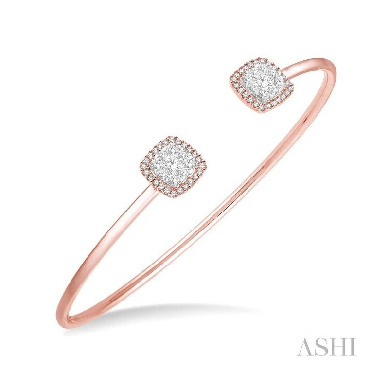 ASHI  lovebright essential cuff open diamond bangle