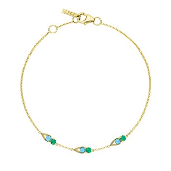 Petite Open Crescent Gemstone Bracelet with Turquoise and Green Onyx