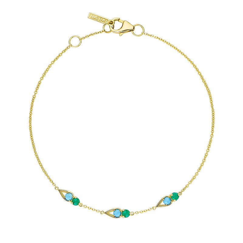 Tacori Fashion Petite Open Crescent Gemstone Bracelet with Turquoise and Green Onyx