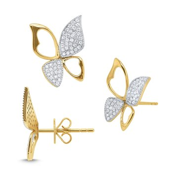 14k Gold and Diamond Butterfly Earrings