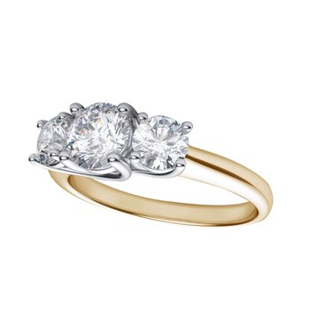 14k Yellow Gold 1.00 Ct Three Stone Diamond Ring