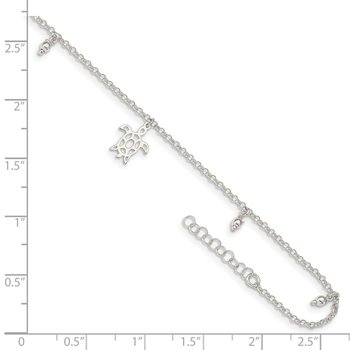 Sterling Silver Turtle Dangle Beads 9in Plus 1in Ext. Anklet