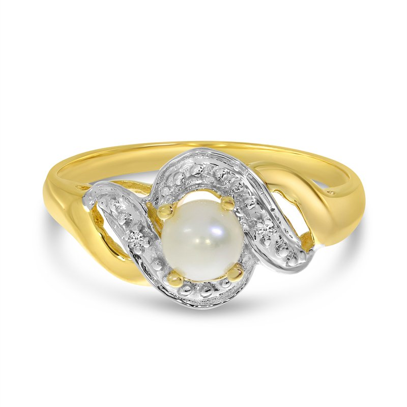 Color Merchants 14k Yellow Gold Freshwater Cultured Pearl And Diamond Swirl Ring