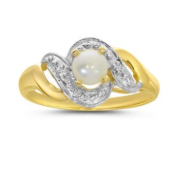 14k Yellow Gold Freshwater Cultured Pearl And Diamond Swirl Ring