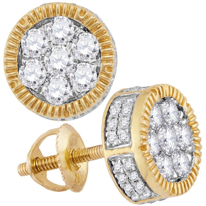 Kingdom Treasures 10kt Yellow Gold Mens Mens Unisex Round Diamond Cluster Milgrain Earrings 7/8 Cttw