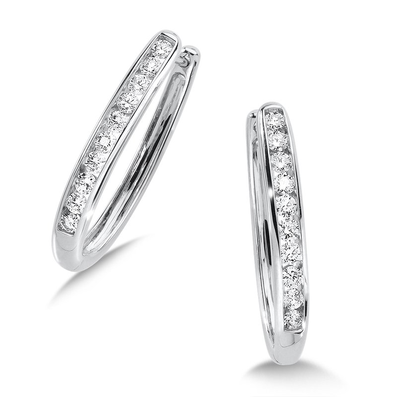 SDC Creations Channel set Diamond Oval Hoops in 14k White Gold (1 ct. tw.) HI/SI2-SI3