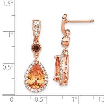 Cheryl M Sterling Silver Rose Gold-plated Multicolored CZ Dangle Earrings