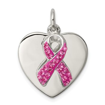 Sterling Silver Stellux Pink Awareness Ribbon w/ Heart Pendant