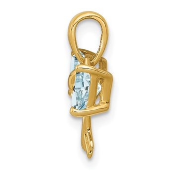 14k Gold Polished Aquamarine Bow Pendant