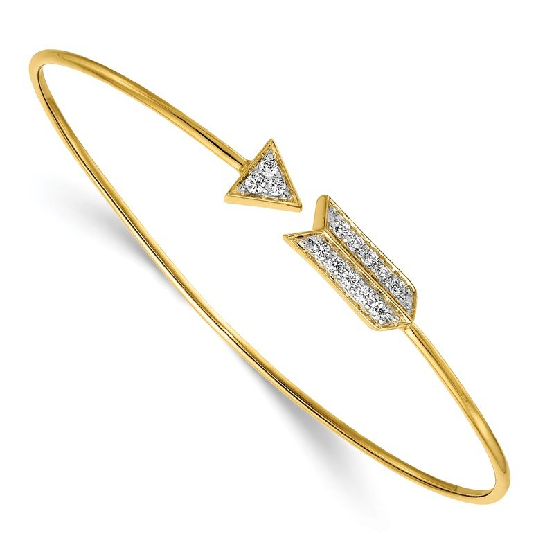 Quality Gold 14k Diamond Arrow Flexible Bangle