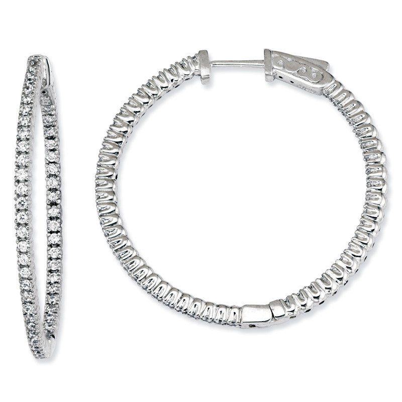 Quality Gold Sterling Silver Rhodium-plated CZ In and Out Round Hoop Earrings