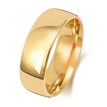 9Ct Yellow Gold 7mm Slight Court Wedding Ring