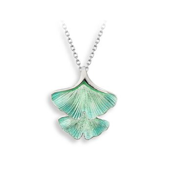 Turquoise Ginkgo 2-Leaf Necklace.Sterling Silver