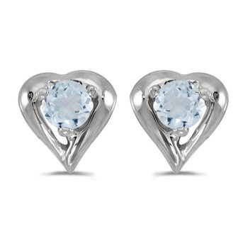 10k White Gold Round Aquamarine Heart Earrings