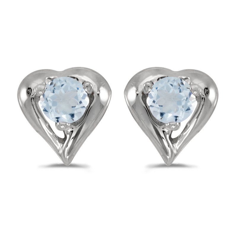 Color Merchants 10k White Gold Round Aquamarine Heart Earrings