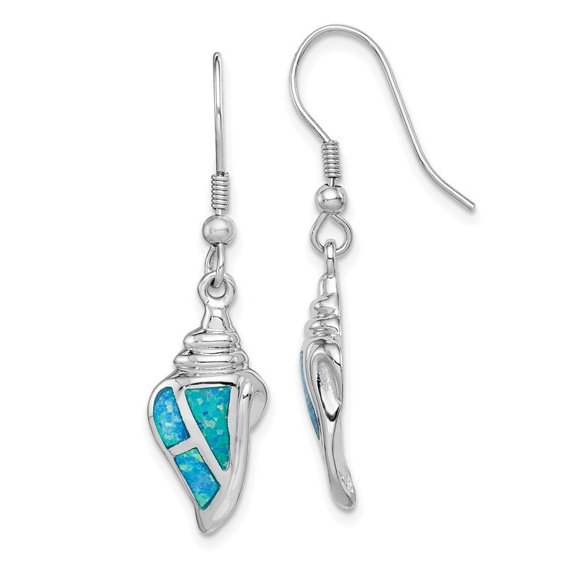 Quality Gold Sterling Silver Rhod-plated Created Blue Opal Seashell Dangle Earrings